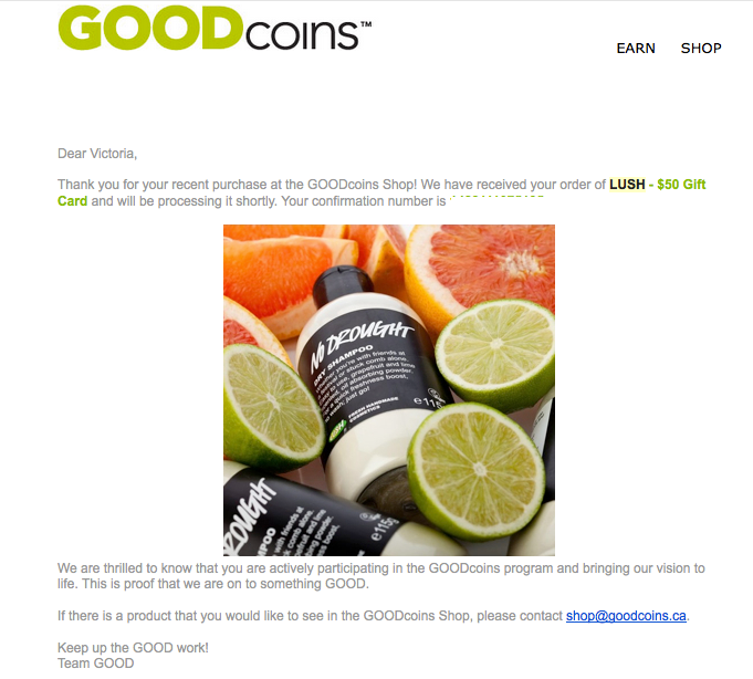 Lush, Gift Card, GOODcoins, rewards, redemption,