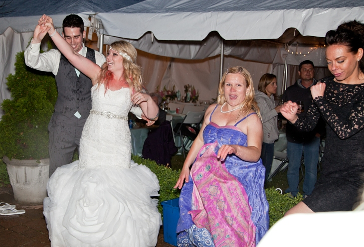 Bride and guests on the dance floor